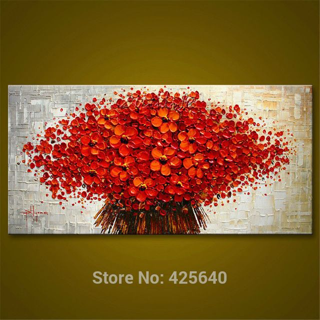 Wall Painting Flower Hand Painted palette knife 3D texture on Canvas