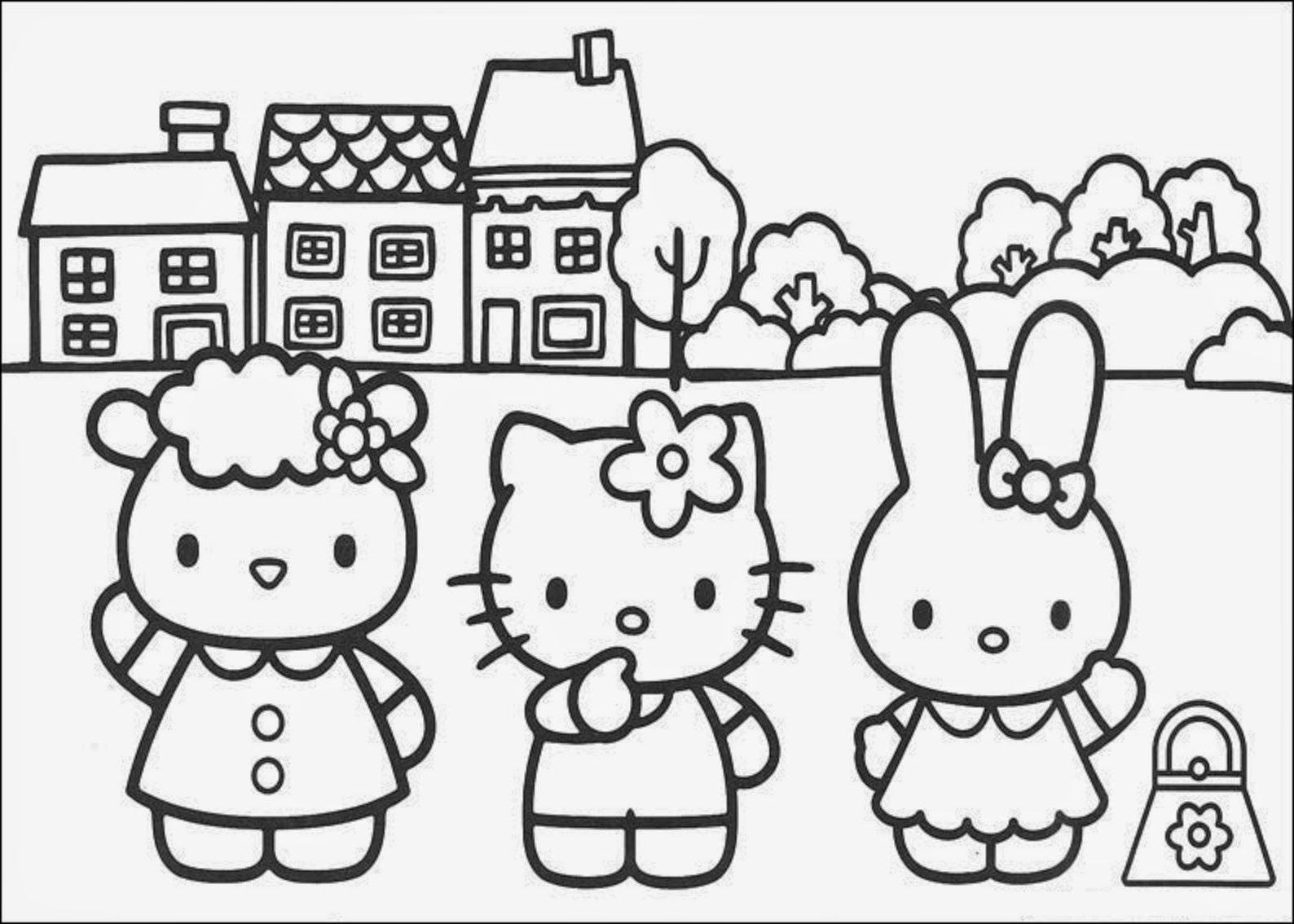 Hello Kitty Black And White Coloring Pages