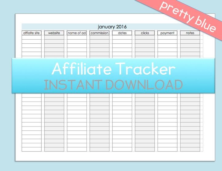 AFFILIATE Income Tracker Printable digital PLANNER Weekly Income ...