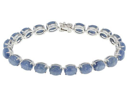 9x7mm Oval Kyanite Cabochon Sterling Silver Bracelet