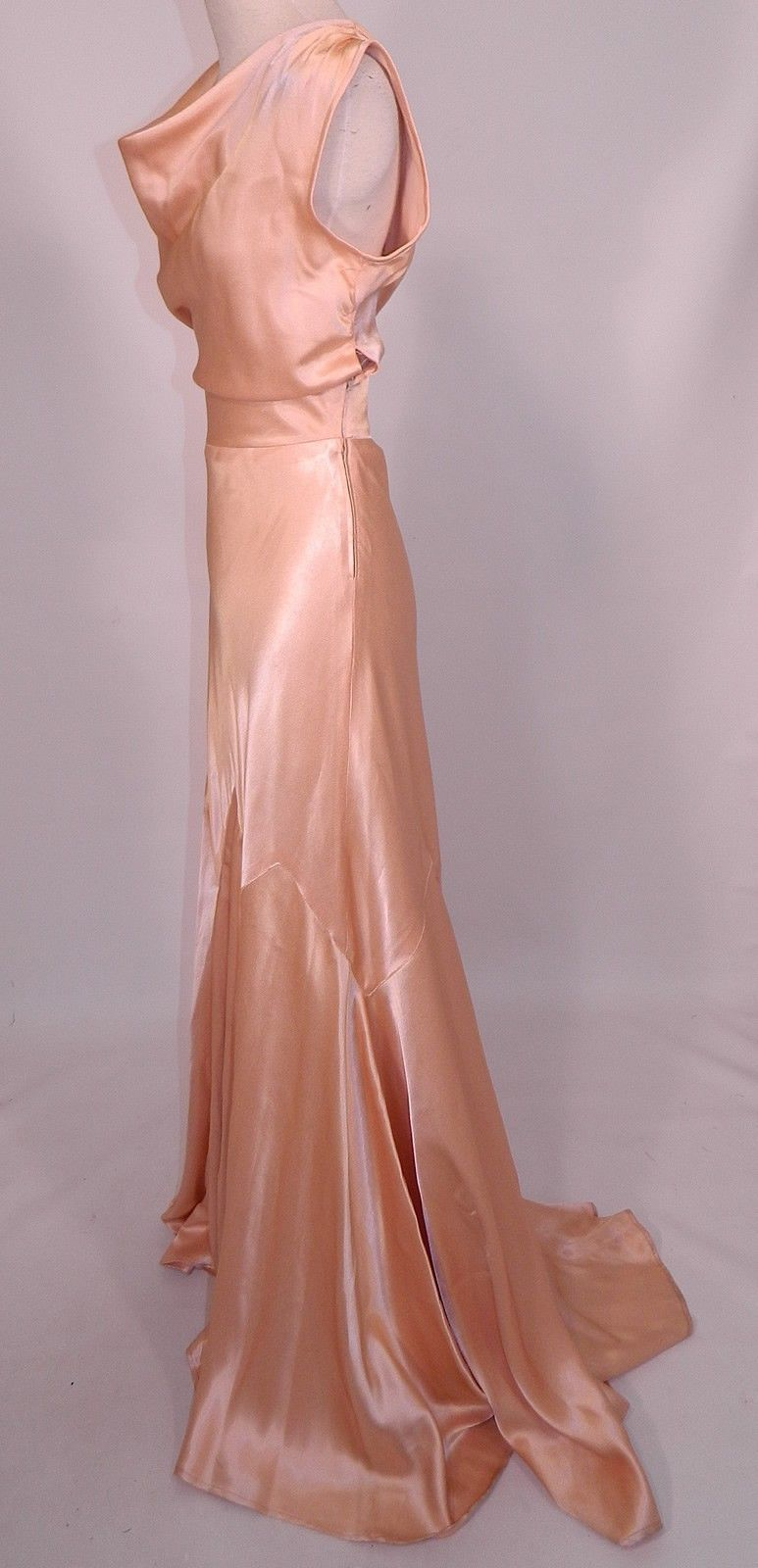 Vintage 1930s Peach Pastel Silk Satin Bias Cut Dress Evening Gown ...