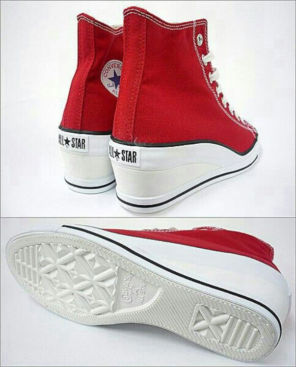 29ad4ff2879 Cute red converse wedges