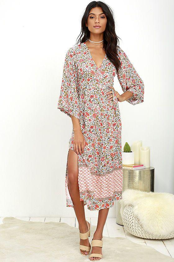 75ccbc170ea1eb Lulus - Beige floral print wrap midi dress