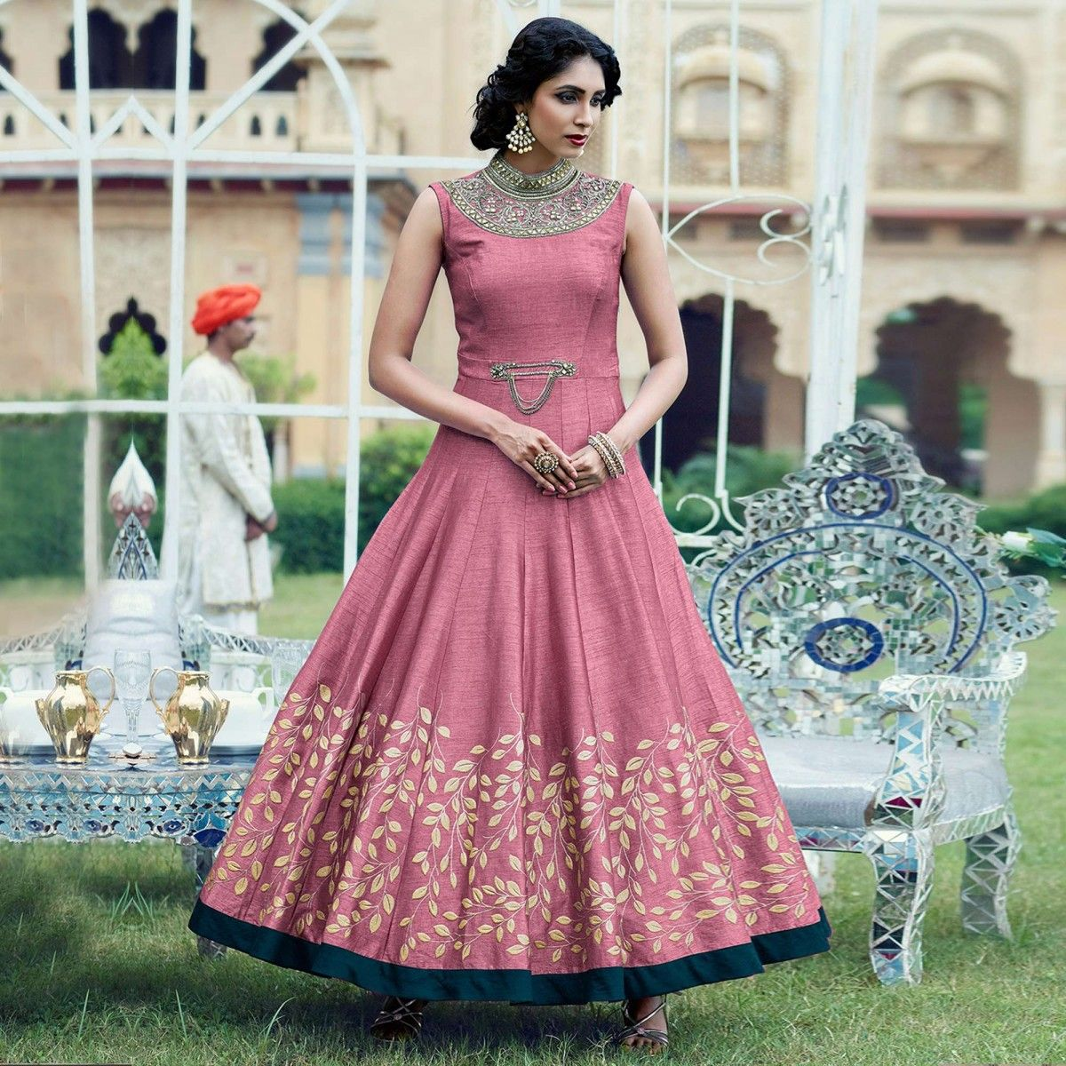 Pink Wedding Gown Online India: Buy Pink Banglori Silk Stitched Gown For Womens Online