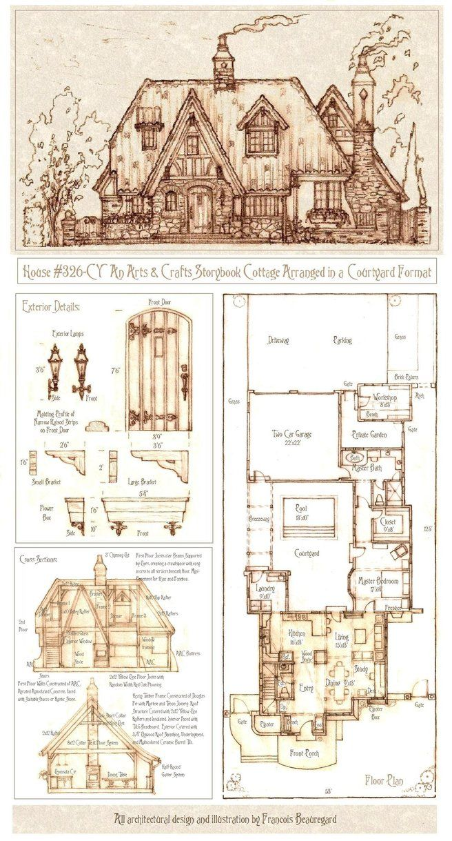 House 326 Cy By Built4ever On Deviantart Cottage Plan Storybook Cottage Courtyard House Plans