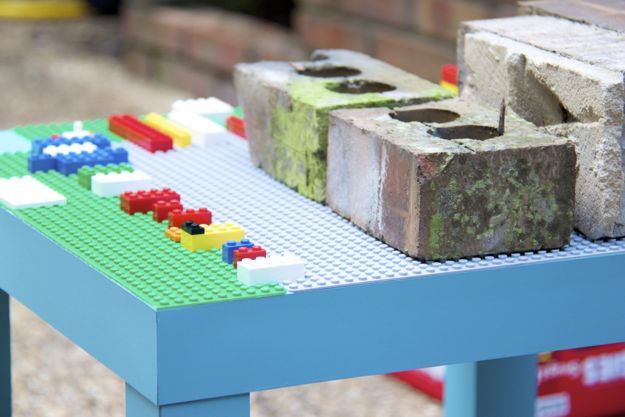 "Do it yourself ""big kid lego"" table top using an inexpensive table ..."