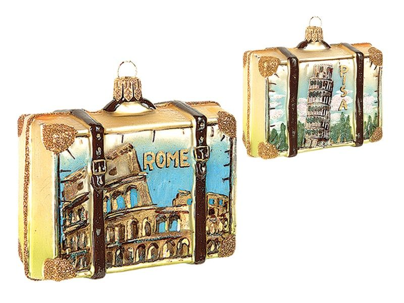 Rome Italy Travel Suitcase Polish Mouth Blown Glass Christmas Ornament - Rome Italy Travel Suitcase Polish Mouth Blown Glass Christmas