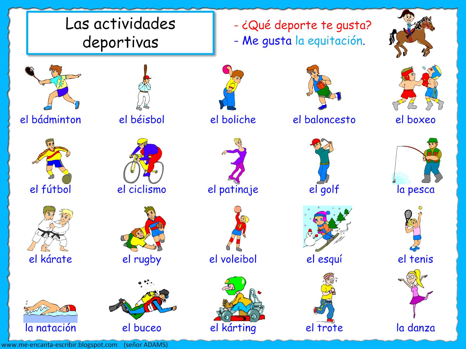 Me Encanta Escribir En Espanol Las Actividades Deportivas Me Gusta