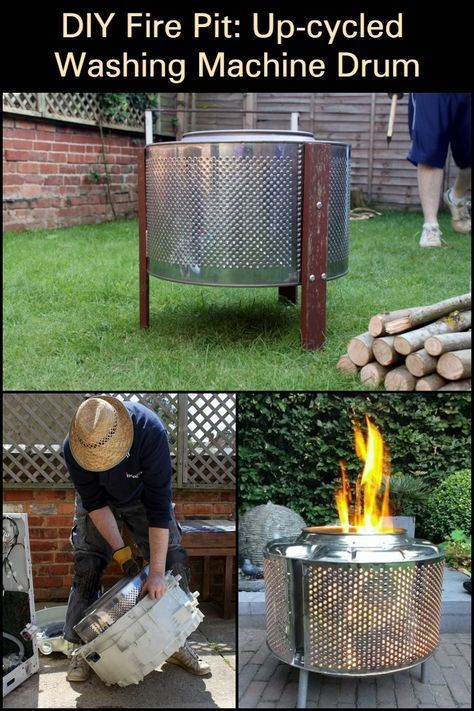 From washing machine to fire pit #firepitideas Learn how to turn an old washing machine into a backyard fire pit through this tutorial. #diyfirepit