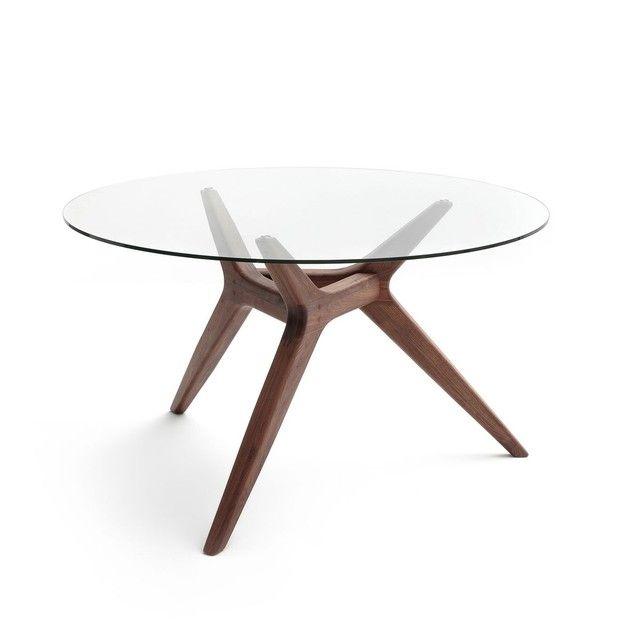 Table Ronde Verre Noyer O130 Cm Maricielo Table Basse Ronde En Verre Table A Manger Basse Ampm Table