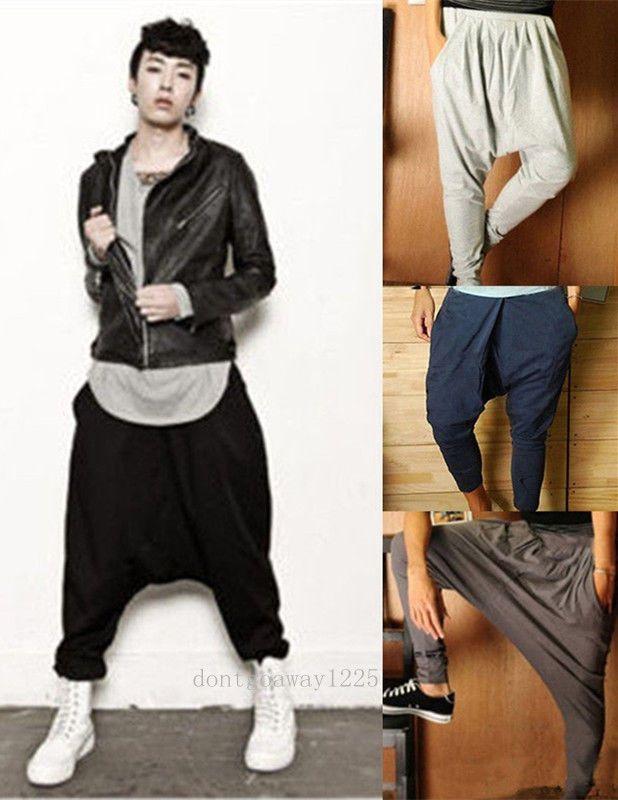 Men Casual Harem Pants Hip Hop Loose Drop Crotch Trouser Jogger Sport Sweatpants