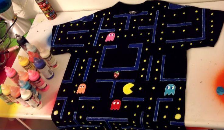 2512de9d43d DIY  Decorate Shirt with Puffy Paint (Pacman) - Time Lapse!!