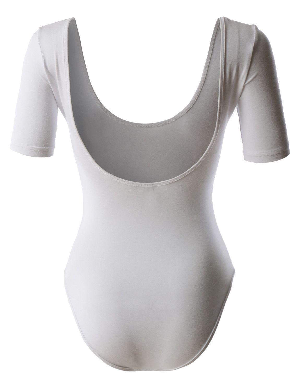 Leno premium womens classic scoop neck short sleeve leotard