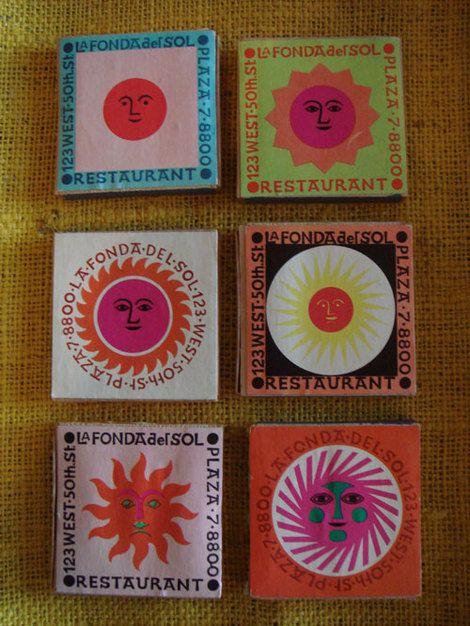 La Fonda Del Sol Matchboxes Designed By Alexander Girard Matchbook Poster Prints Paper Art