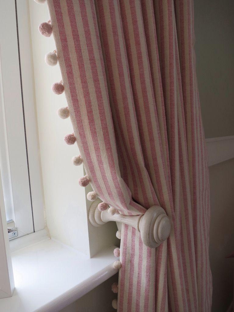 Striped Curtains With Pom Pom Trim A Pair Of Full Length