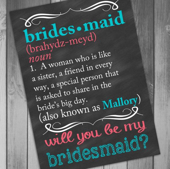 Bridesmaid Card Will You Be My Bridesmaid Card by CLaceyDesign ...