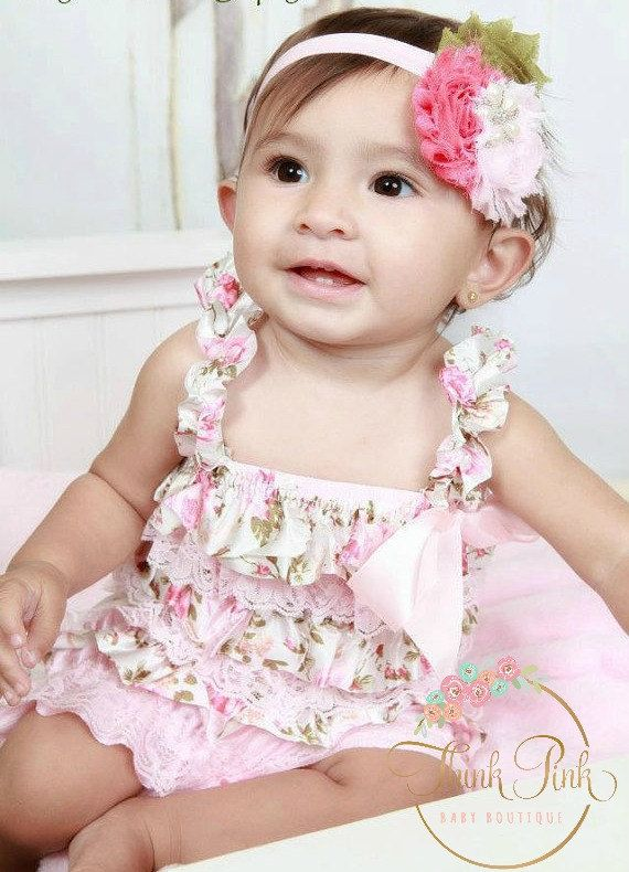 e579b04ddadf Baby Girl Dusty Ivory Satin Rose Petti Lace Romper Set
