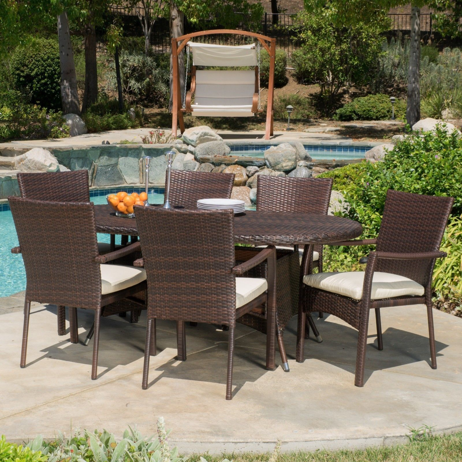 Ordinaire 7 Piece Wicker Contemporary Dining Patio Furniture Set With Cushion   Brown