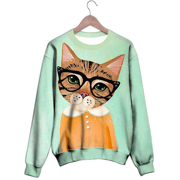 Laronna Mint & Orange Cat Sweatshirt (€36) ❤ liked on