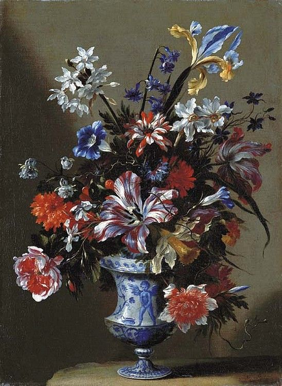 Mario Nuzzi, called Mario dei Fiori (1603-1673) — Lilies, Peonies, Narcissi, Morning Glory and Other Flowers in a Blue and White Vase on a Stone Ledge (548x750)