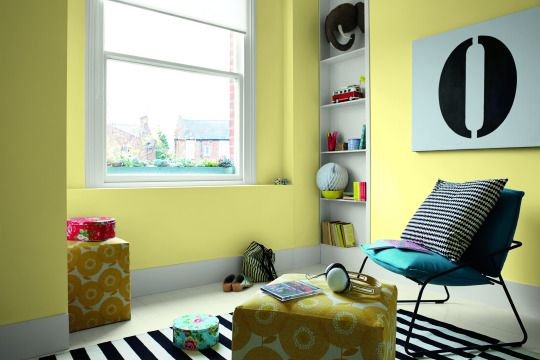 A bedroom painted in a pale yellow shade such as Vanilla Sundae can ...