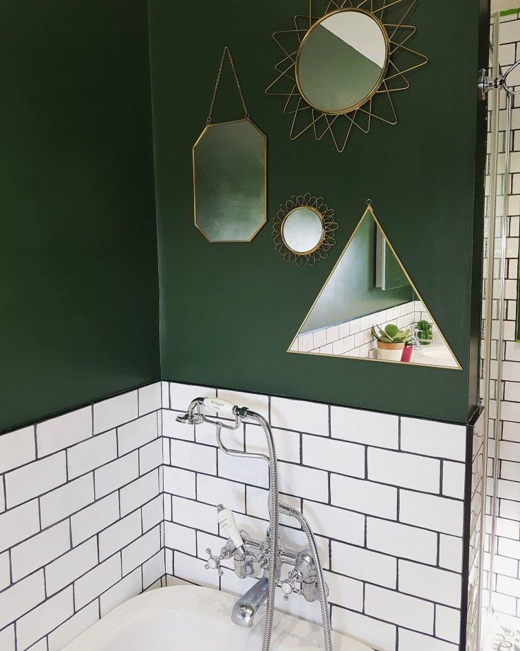 Gold Mirror Feature On Forest Green Bathroom Wall Green Bathroom Decor Green Bathroom Green Tile Bathroom