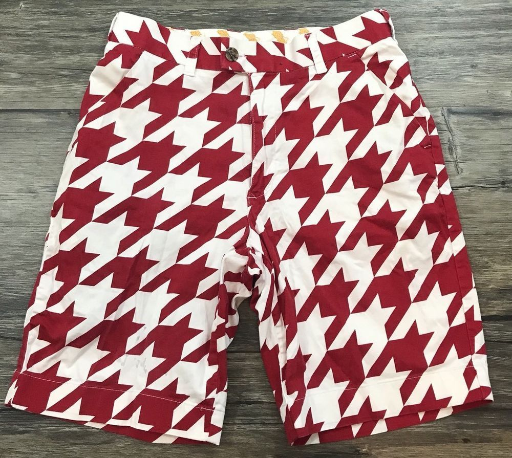 bbb541c0f0 Loudmouth Golf Shorts Houndstooth Retro Red White Size 30 Womens 53E # Loudmouth #BermudaWalking #GolfShorts