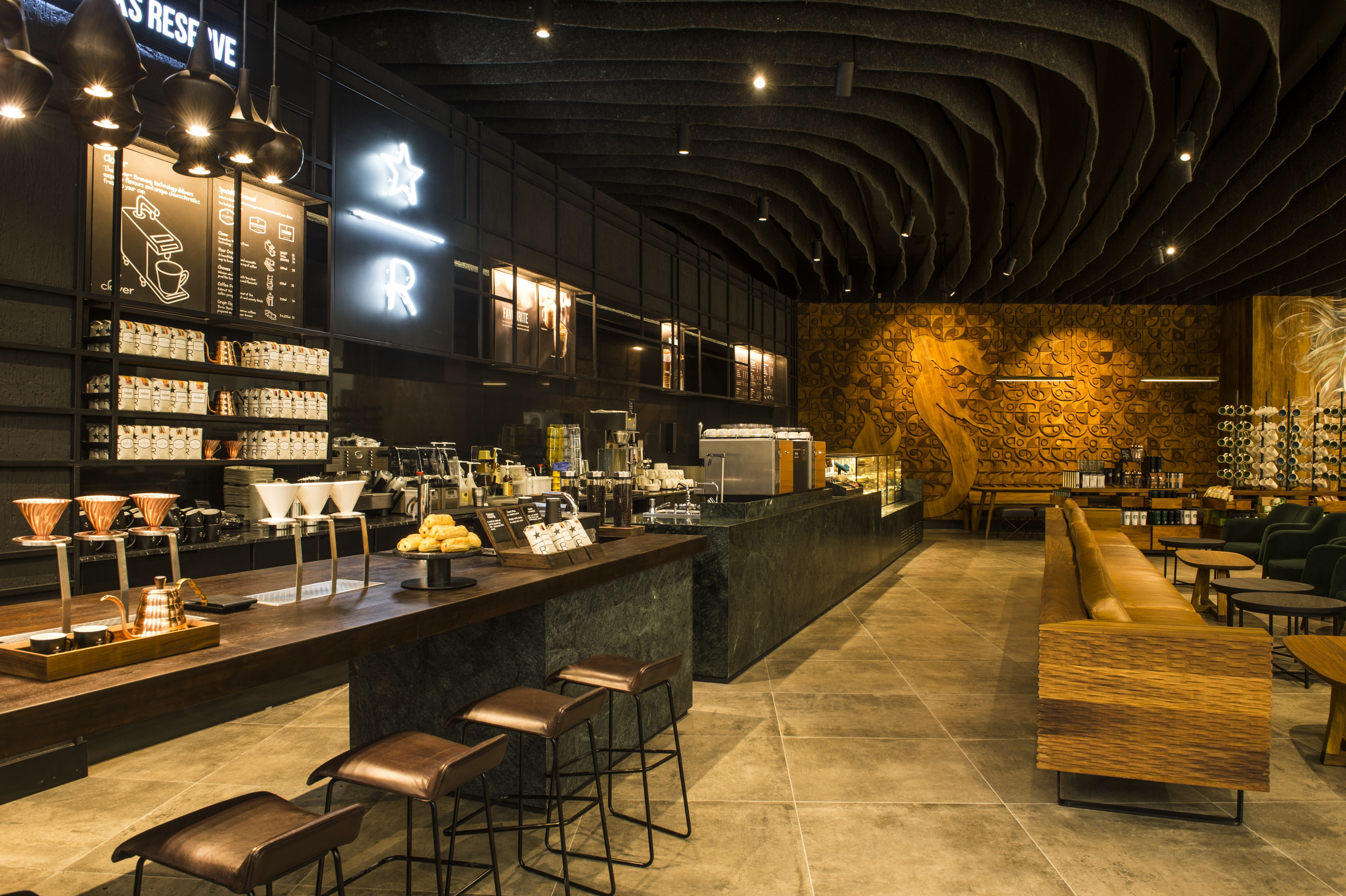 Starbucks with an interior inspired by local arts in Johannesburg ...