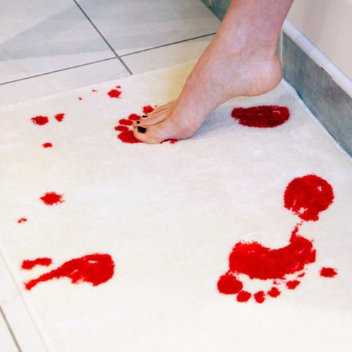 Bath mat that turns red when wet - perfect for the guest bath.  Perfect April Fools joke