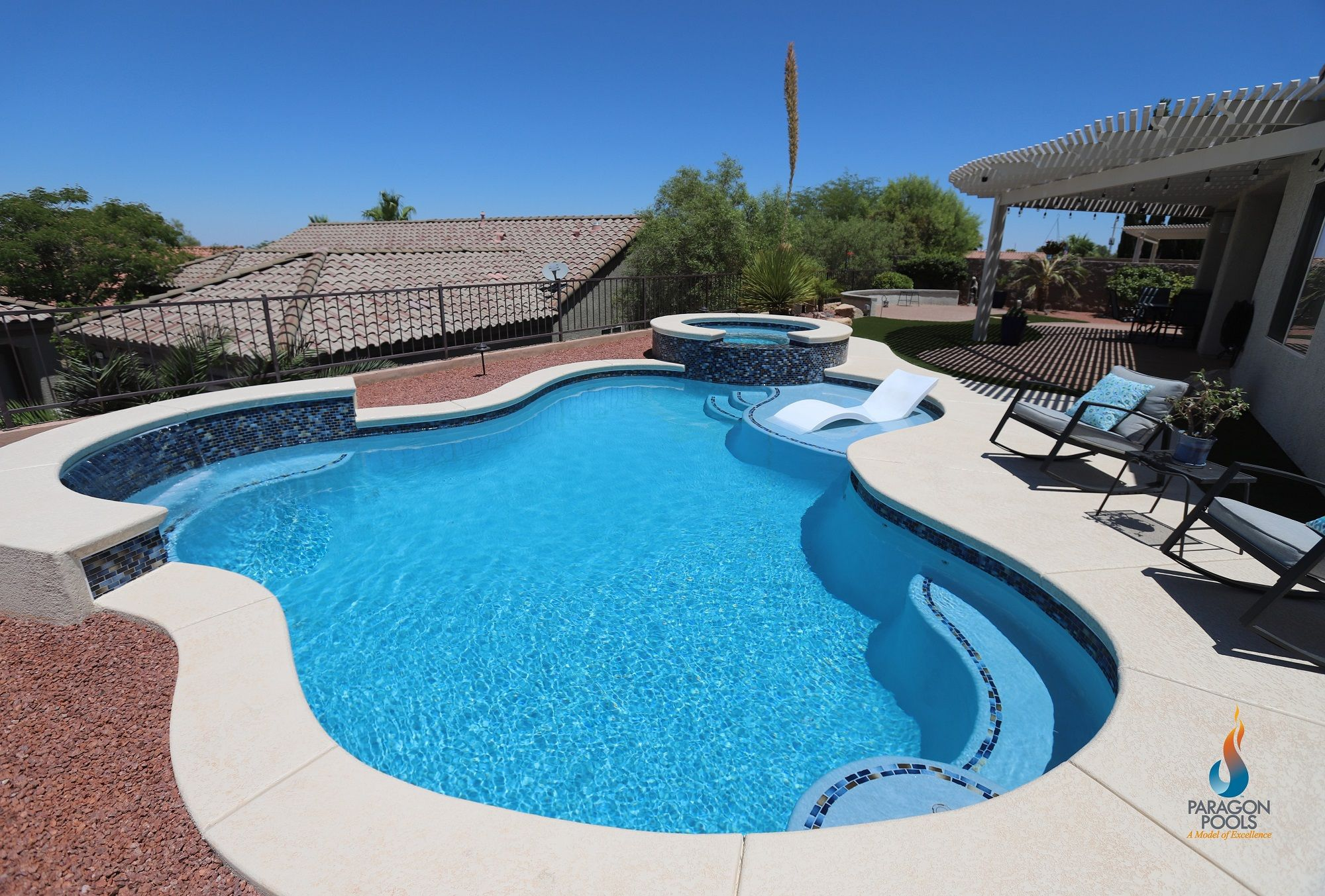 Brilliant Deck Over Pool Retirement With White Cantilever Patio Umbrella Also Swimming Pool Tanning Ledge With Tanning Ledge Lounge Chairs Treillis