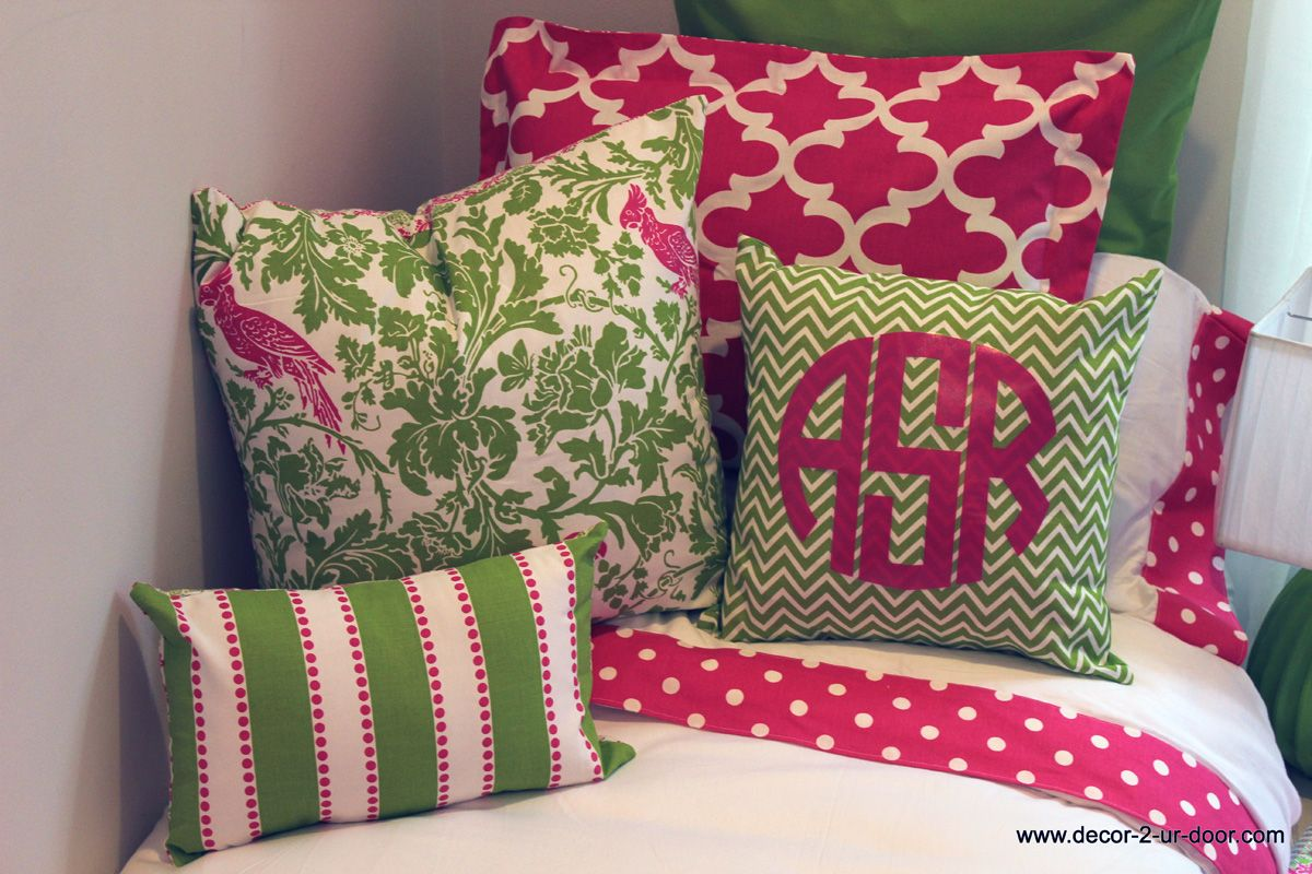 Preppy pink and green bed in a bag dorm decor dorm bedding designer