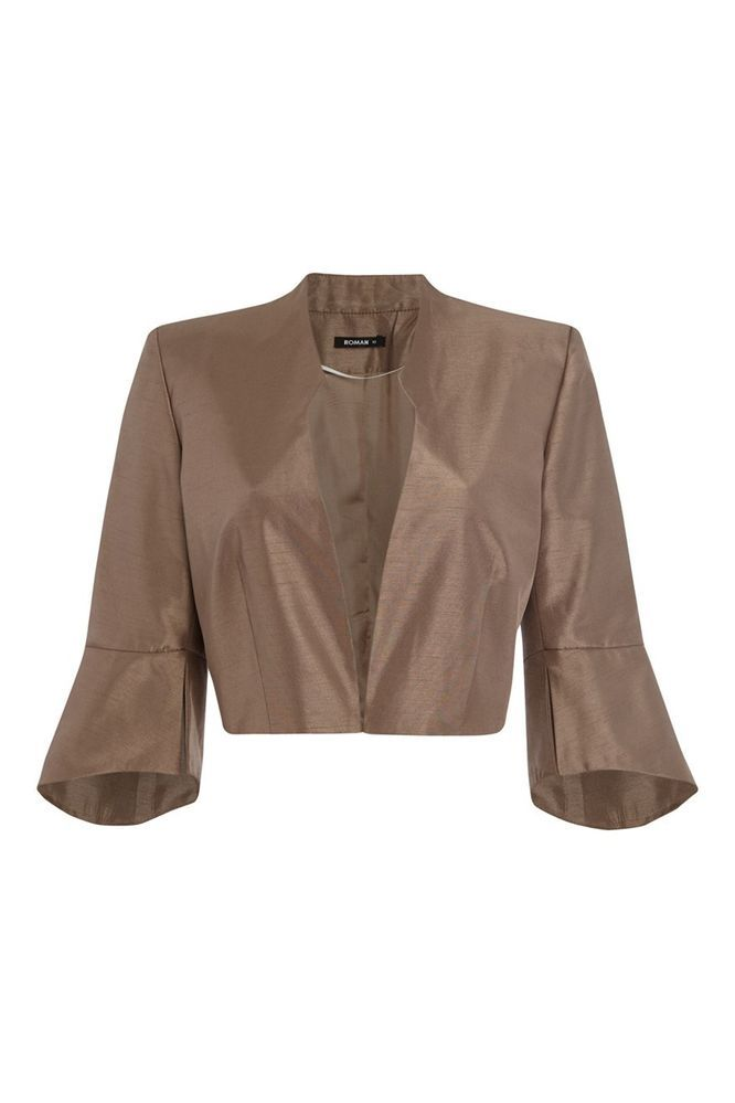 4516d0c0260 Womens Bow Occasion Bolero Jacket Evening Outfit Blazer Cropped Ladies Brown