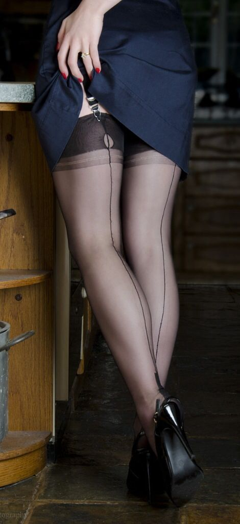 Sheer Black Stockings With Visible Stocking Tops Short