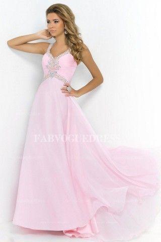 A-Line/Princess V-neck Straps Sweep/Brush Train Chiffon Prom Dress