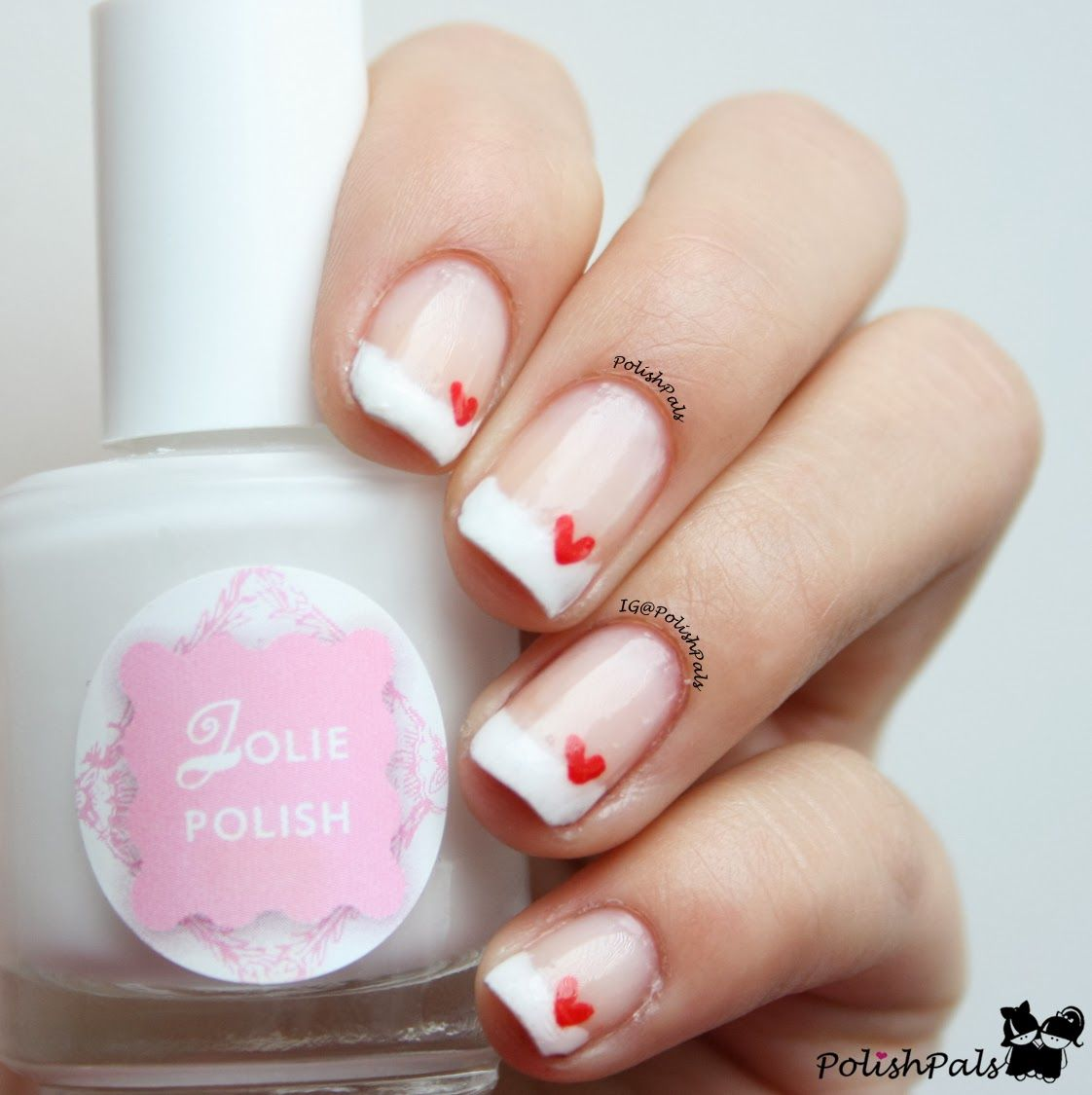 french tips hearts valentine's