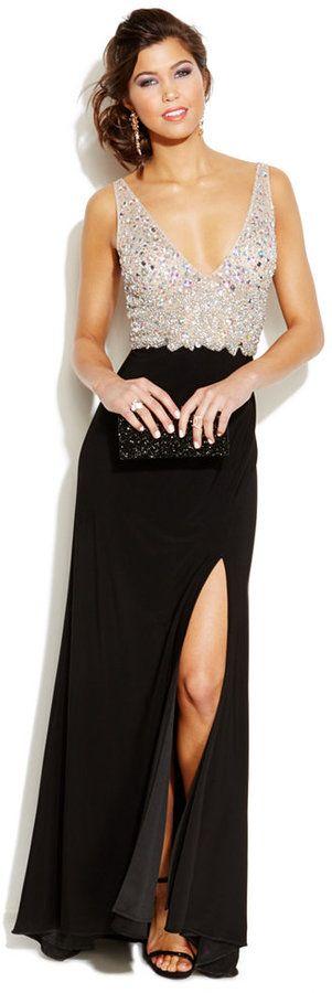 Blondie Nites Juniors' Embellished Plunging-Neckline Gown