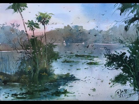 """Awesome Loose Transparent Watercolor Painting Demonstration """"Misty Lake"""" Photos - Awesome lake painting Simple"""