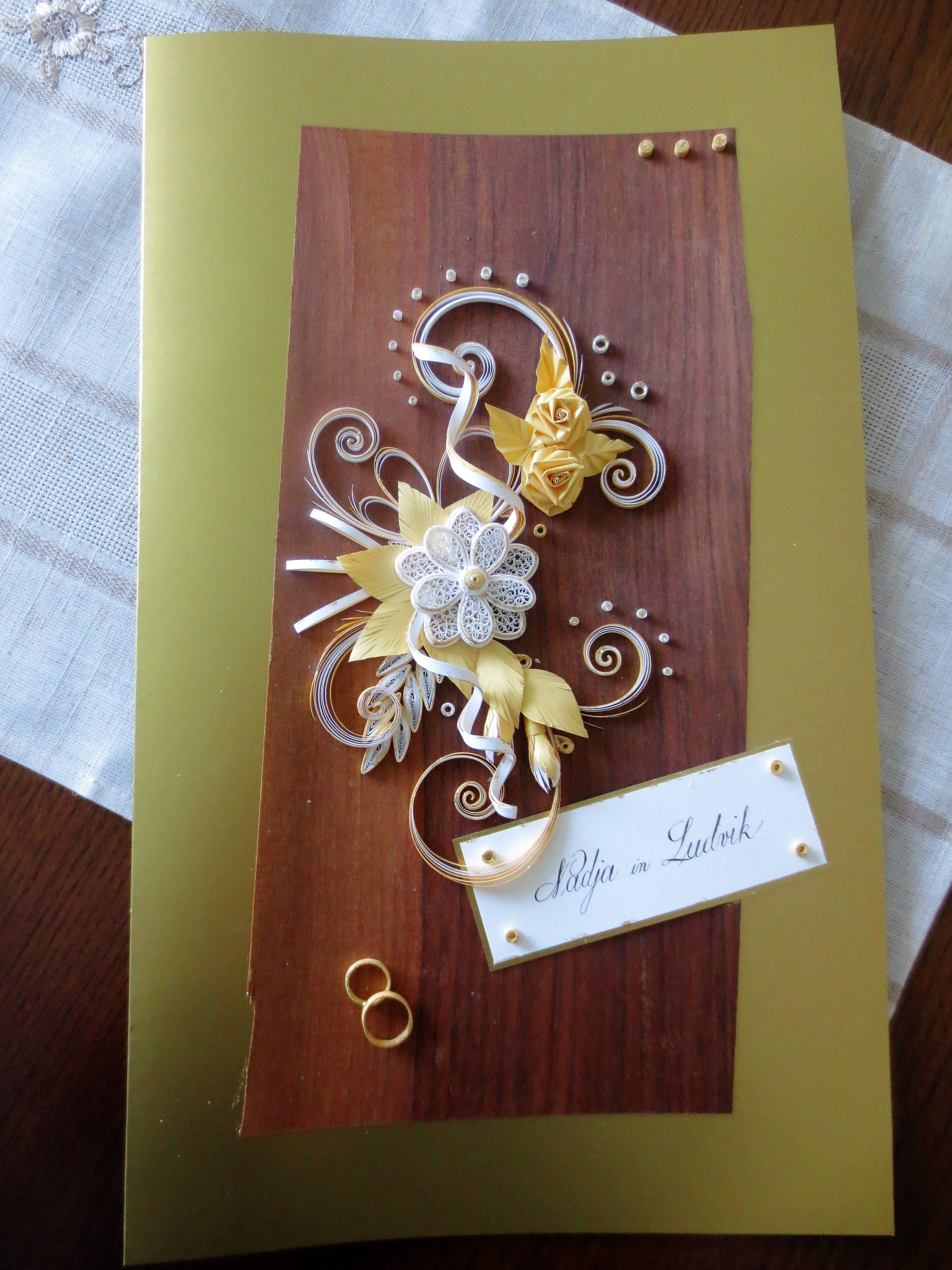 Quilled Official Document At Golden Marriage Handmade Cards And