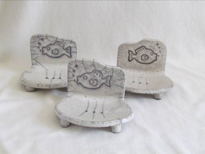 Porte savon raku poisson original ceramique gres jean for Porte savon douche ceramique