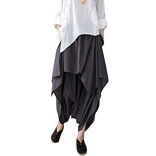 Gugu Womens Original CottonLinen Pleated Loose Harem Pants grey one size *** Learn more by visiting the image link.
