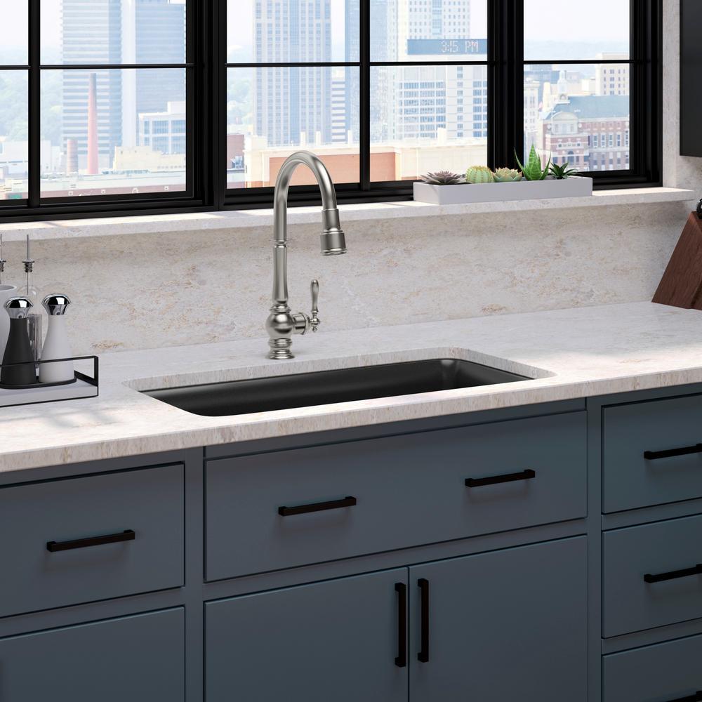 kohler cairn all in one undermount 33 in single bowl kitchen sink in matte black with artifacts on kitchen sink id=86144