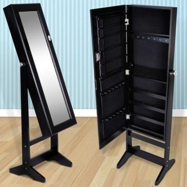 schmuckschrank mit spiegel in schwarz jago24. Black Bedroom Furniture Sets. Home Design Ideas