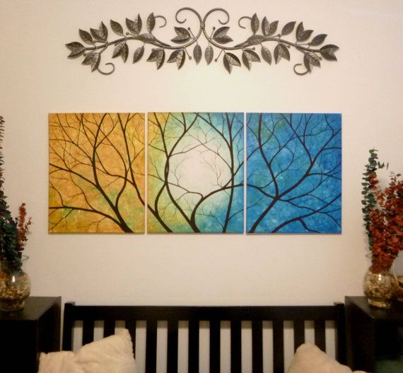 Tree painting. Colors of Blue and Yellow. by ArtbySimplyMe on Etsy