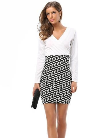 2c565dfe7dd Office Lady White Wrap Black Argyle Going Out Bodycon Fall Dress - FADCOVER
