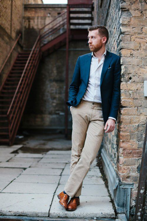 Blue and tan are great matches. Blue jacket with tan pants