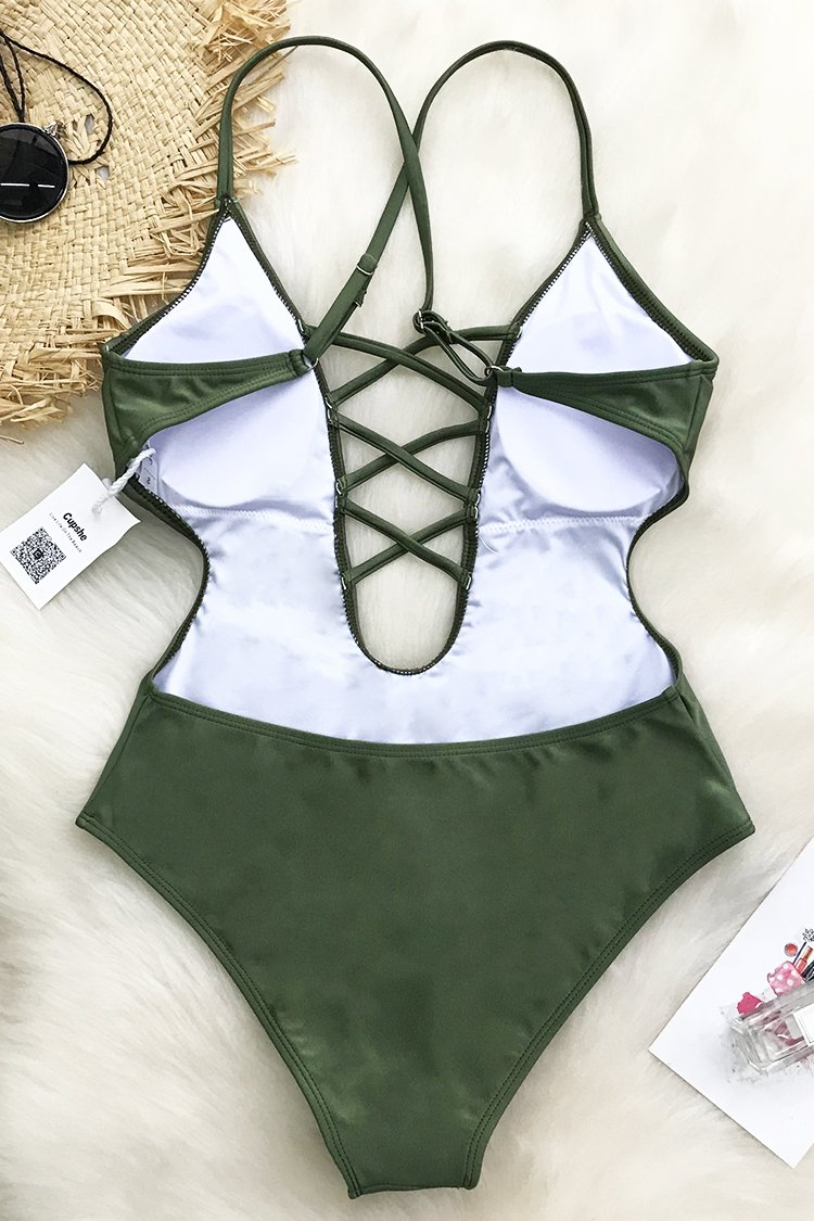 4c76a1bde79 Cupshe Good Time Lace Up One-piece Swimsuit | Bk niñas | Swimsuits ...