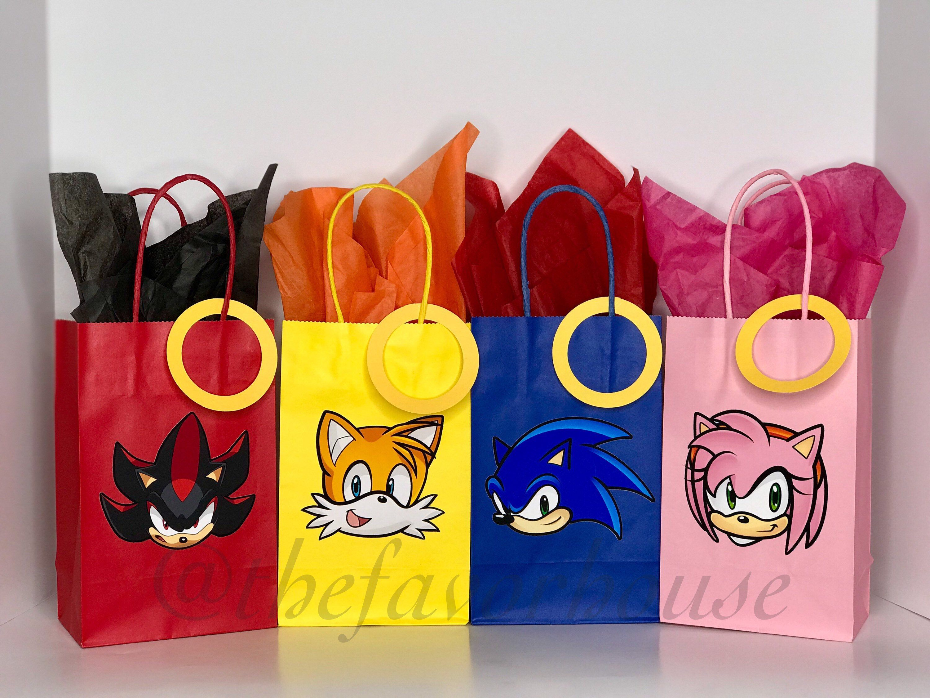 Sonic The Hedgehog Favor Bag Sonic The Hedgehog Gift Bag Etsy In 2020 Sonic Birthday Parties Hedgehog Birthday Sonic Party