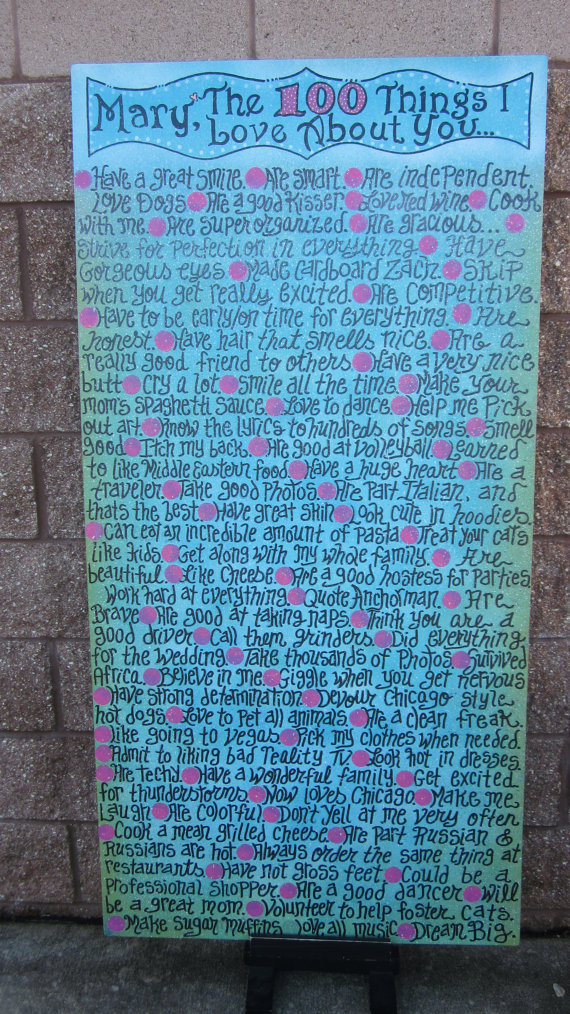 "100 Things I love about you CANVAS Custom ORDER 30"" X 60"" on Linen"