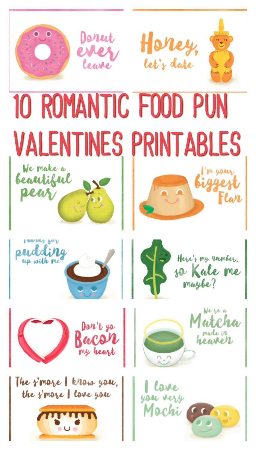 10 Romantic Food Pun Valentines Printables A Sparkle Of