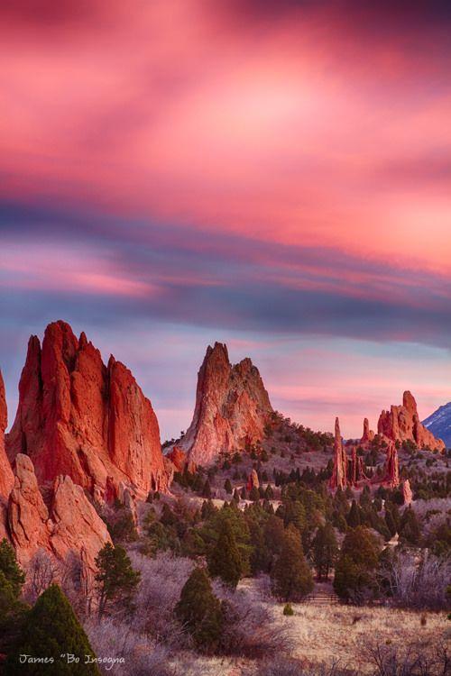 Garden Of The Gods Sunset Sky Portrait Colorado Travel Colorado Natural Landmarks